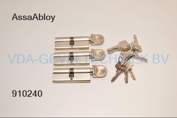 Litto  Cilinder set  a 3 st / 40 x 40mm  knop  gelijksluitend